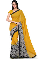 Nanda Silk Mills Georgette Digital Print Exclusive Sari With Unstitched Blouse Piece _ Yellow