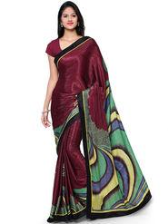Nanda Silk Mills Crape Digital Print Exclusive Sari With Unstitched Blouse Piece _ Magenta