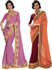 Combo of 2 Indian Women Embroidered Party Wear Sarees With Blouse Piece_Na001 - Multicolor