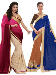 Combo of 2 Indian Women Embroidered Party Wear Sarees With Blouse Piece_Na002 - Multicolor