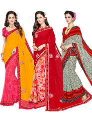 Combo of 3 Indian Women Embroidered Party Wear Sarees With Blouse Piece_Ma001 - Multicolor