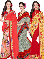 Combo of 3 Indian Women Embroidered Party Wear Sarees With Blouse Piece_Ma003 - Multicolor