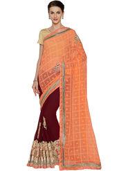 Nanda Silk Mills Half & Half Fancy Fabric Pallu Georgette Fabric Skt Embroiderd Work Saree With Unstitched Blouse Piece _ Peach & Brown