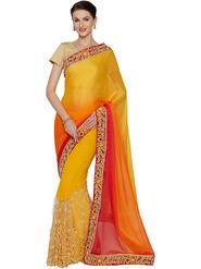 Nanda Silk Mills Half & Half Fancy Fabric Pallu Georgette Fabric Skt Embroiderd Work Saree With Unstitched Blouse Piece _ Yellow & Orange