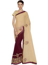 Nanda Silk Mills Half & Half Fancy Fabric Pallu Georgette Fabric Skt Embroiderd Work Saree With Unstitched Blouse Piece _ Beige & Brown