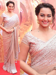 Thankar Multy Work Georgette Bollywood Designer Saree _ Peach