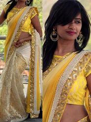 Thankar Multy Work Georgette & Russal Net Half Half Bollywood Designer Saree _ Cream & Yellow