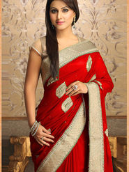 Thankar Gorgeous New Attractive Embroidered Designer Saree _Red