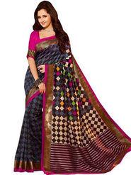 Thankar Multy Printed Bhagalpuri Silk Saree _ Multicolor