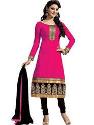 Thankar Printed Polycotton Dress Material_Tkr04 - Pink & Black