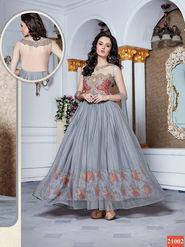 Thankar Latest Designer Heavy Partywear Gown_Tkr09 - Grey