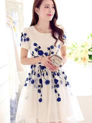 Thankar Designer Latest Colour Semi Stitched Western Wear _Tkr35 - White & Blue