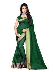 Bhuwal Fashion Plain Polycotton Green Designer Saree -bhl05