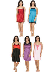 Set of 5 Klamotten Solid Satin Nightwear-152O-39P