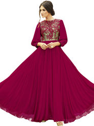 Viva N Diva Embroidered Pure Georgette Semi Stitched Gown -vnd22