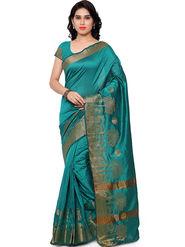 Viva N Diva Plain Banarasi Silk Blue Saree -vs03