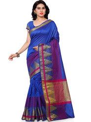 Viva N Diva Plain Banarasi Silk Blue Saree -vs04