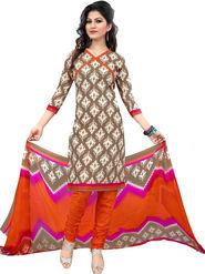 Viva N Diva Printed Cotton Unstitched Beige Dress Material -vd144
