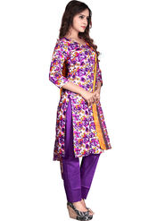 Viva N Diva Printed Glace Cotton Unstitched Off White And Purple Dress Material -vd136
