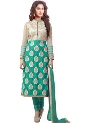 Viva N Diva Emboridered Georgette Semi Stitched Green Salwar Suit -vd060