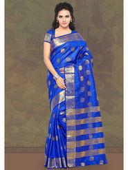 Viva N Diva Woven Banarasi Silk Blue Saree -19158-Darshini