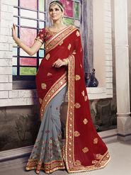 Viva N Diva Embroidered Georgette Red & Grey Saree -19428-Rukmini-03