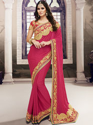 Viva N Diva Embroidered Satin Chiffon Pink Saree -19430-Rukmini-03