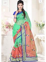 Viva N Diva Embroidered Banarasi Pure Net Green & Orange Saree -19438-Akshita