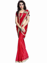 Bhuwal Fashion Plain Lycra Red Designer Saree -bhl03