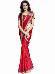 Bhuwal Fashion Plain Lycra Red Designer Saree -bhl03