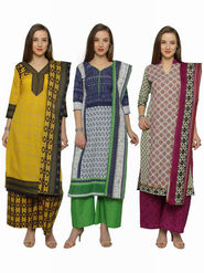 Combo of 3 Florence  Polycotton Printed  Dress Material_Pk3