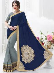 Indian Women Embroidered Satin Blue & Grey Designer Saree -GA20311