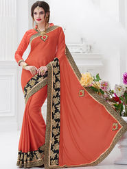 Indian Women Embroidered Satin Chiffon Orange Designer Saree -GA20316