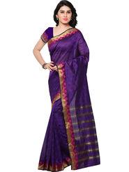 Viva N Diva Woven Banarasi Silk Purple Saree -vd024