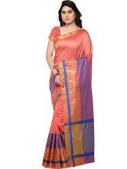 Viva N Diva Woven Banarasi Silk Peach Saree -vd025