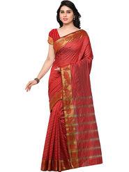 Viva N Diva Woven Banarasi Silk Red Saree -vd026