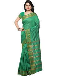 Viva N Diva Woven Banarasi Silk Green Saree -vd027