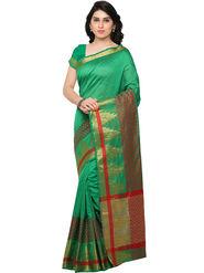 Viva N Diva Woven Banarasi Silk Green Saree -vd028