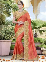 Indian Women Embroidered Silk Orange Designer Saree -RA21060