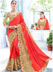 Indian Women Embroidered Silk Orange & Gold Designer Saree -Ra21150