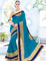 Indian Women Embroidered Silk Blue Designer Saree -Ra21151