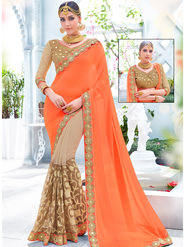 Indian Women Embroidered Georgette & Jacquard Orange & Beige Designer Saree -Ra21152