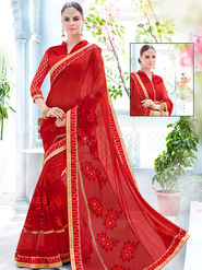 Indian Women Embroidered Net & Lycra Red Designer Saree -Ra21154