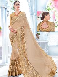Indian Women Embroidered Fancy Fabrics Beige Designer Saree -Ra21155