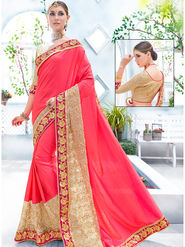Indian Women Embroidered Two-Tone Satin Pink Designer Saree -Ra21159
