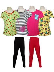 Pack of 4 Little Star Girl's Top and 2 Leggings - 31006_Cute Girl