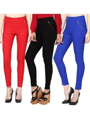 Combo of 3 Arisha Solid Cotton Lycra Jegging -sa03
