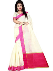 Zoom Fabrics Plain Cotton Silk Beige & Pink Saree -4051D