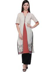 Lavennder Khaadi Printed Off White Red Long Straight Kurta - 623557