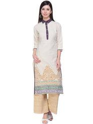 Lavennder Khaadi Printed Off White Long Straight Kurta - 623566